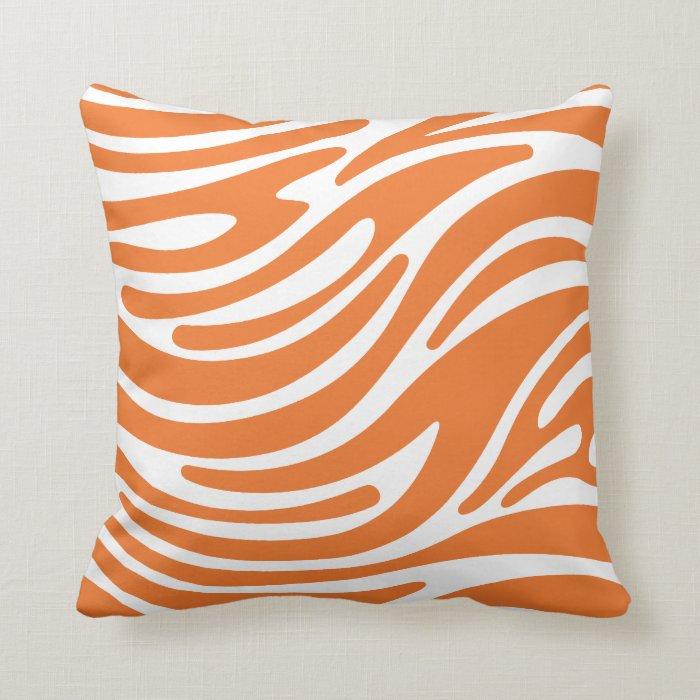 Modern Throw Pillows Orange : Throw Pillow - Modern Zebra Stripes (Orange) Zazzle