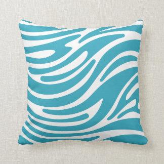 Throw Pillow - Modern Zebra Stripes (Teal)