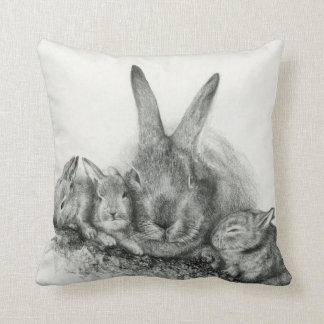 Throw Pillow Momma Rabbit and Bunnies