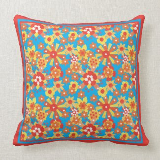 Throw Pillow or Cushion, Ditsy Floral Pattern