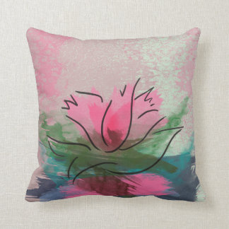 Throw Pillow, Pink Flower Painting Throw Pillow