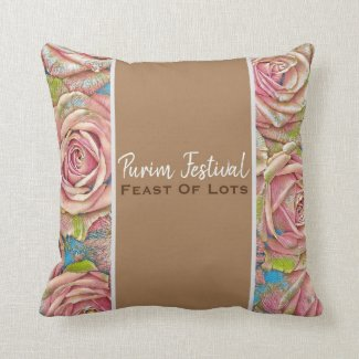 Throw Pillow Purim Festival Feast Of Lots Gold