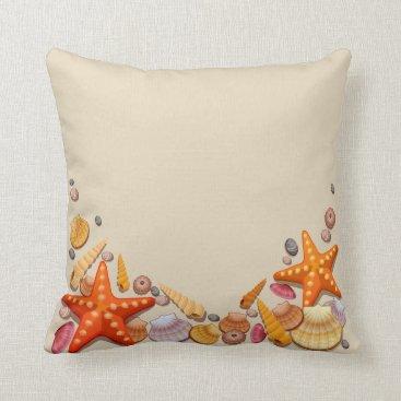 Beach Themed Throw Pillow-Shells Throw Pillow