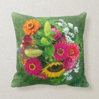 Throw Pillow: Sunflower & Zinnia Bouquet