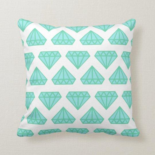 Throw Pillow White Tiffany Blue Diamond Print Zazzle