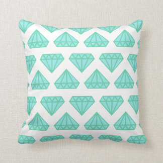 Throw pillow: white & tiffany blue diamond print throw pillow