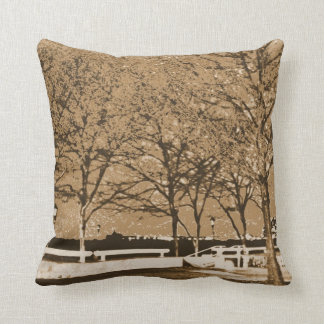 Throw Pillow with Aged Harbor View at Night