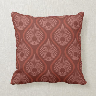 Throw pillow with art deco peacock design