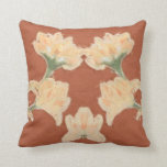 Throw Pillow with Art Nouveau Lotus Flowers