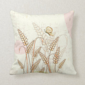 Throw Pillow with Butterfly and Flowers Pillow