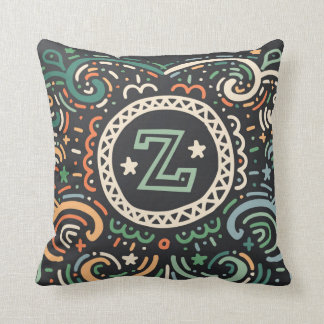 Throw Pillow with letter Z and curly pattern