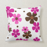 Throw Pillow with Pink and Chocolate Brown Daisies