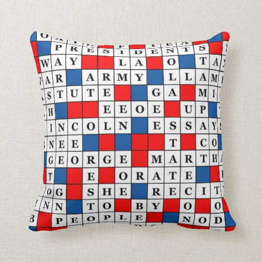 Throw Pillow with Presidents Day Crossword Design