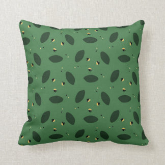 Throw Pillow with Scattered Greens Pattern