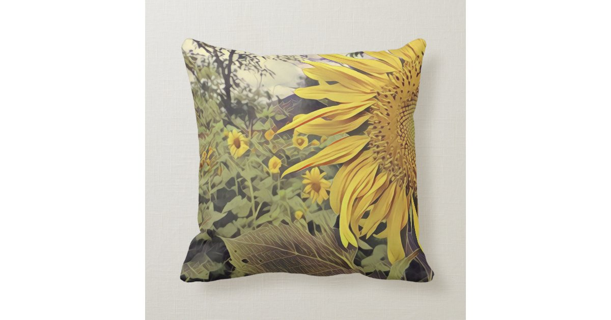 Throw pillow with sunflower design Zazzle