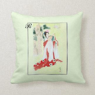 Throw Pillow with Vintage Chinese Motif & Monogram