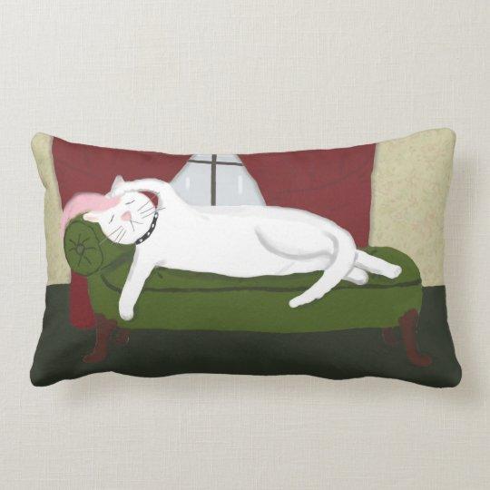 Throw Pillow with White Drama Kitty Illustration
