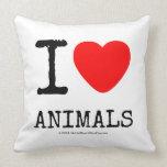 I Love Heart Animals Throw Pillows