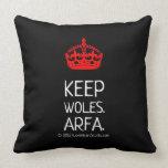 [Crown]  keep woles. arfa.  [Crown]  keep woles. arfa. Throw Pillows