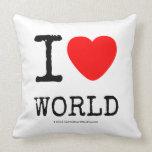 I Love Heart World Throw Pillows