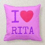 i [Love heart]  rita i [Love heart]  rita Throw Pillows