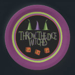 """Throw The Dice Witches Bunco Plate<br><div class=""""desc"""">Fun and festive Bunco plates are perfect for your October Halloween Bunco themed event.  Throw The Dice witches graphic art design features three witches hats,  custom orange dice decorated with a flying witch ant the text &quot;Throw The Dice Witches&quot;.  Best &quot;witches&quot; for a successful Bunco party!</div>"""