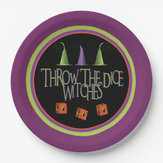 Throw The Dice Witches Bunco Plate 9 Inch Paper Plate