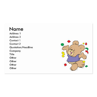 throwing confetti cute party time teddy bear business card