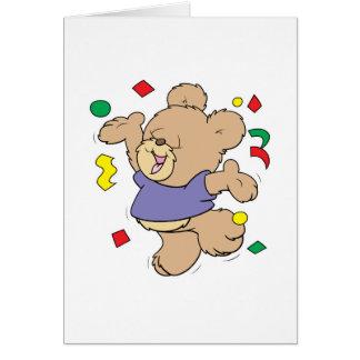 throwing confetti cute party time teddy bear card