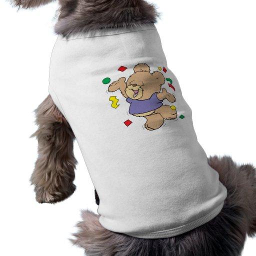 throwing confetti cute party time teddy bear doggie tshirt