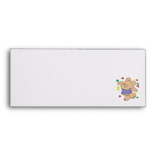 throwing confetti cute party time teddy bear envelope
