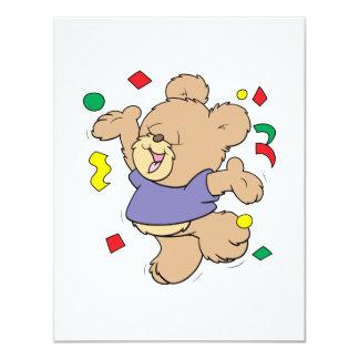 "throwing confetti cute party time teddy bear 4.25"" x 5.5"" invitation card"