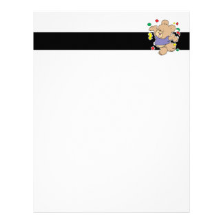 throwing confetti cute party time teddy bear letterhead