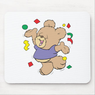 throwing confetti cute party time teddy bear mouse pad