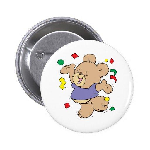 throwing confetti cute party time teddy bear pins