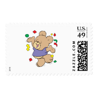 throwing confetti cute party time teddy bear postage stamp