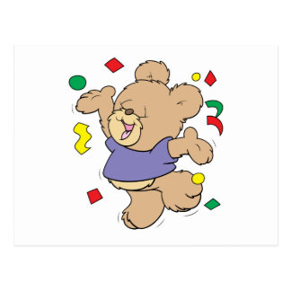 throwing confetti cute party time teddy bear postcard