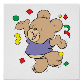 throwing confetti cute party time teddy bear poster
