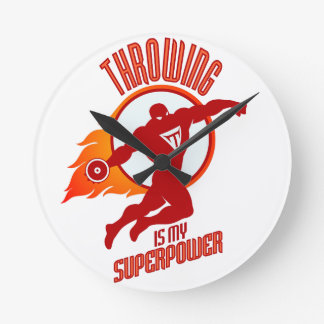 throwing discus is my superpower round clock