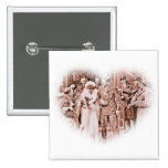"""""""Throwing Rice""""  Vintage GI and Bride Pinback Buttons"""