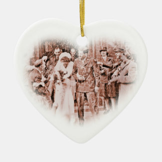 """""""Throwing Rice""""  Vintage GI and Bride Ceramic Ornament"""