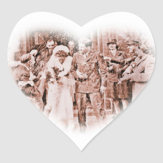 """""""Throwing Rice""""  Vintage GI and Bride Heart Sticker"""
