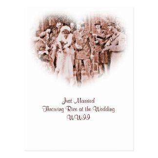 """""""Throwing Rice""""  Vintage GI and Bride Post Card"""