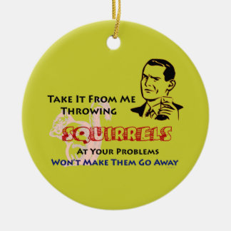 Throwing Squirrels Retro Humor Ornament (Mod)