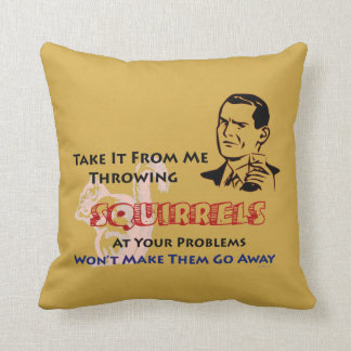 Throwing Squirrels Retro Humor Throw Pillow