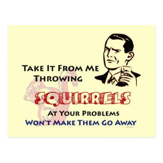 Throwing Squirrels Retro Postcard