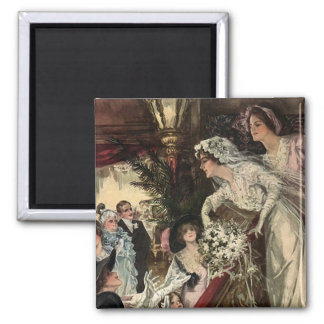 Throwing the Bouquet 2 Inch Square Magnet