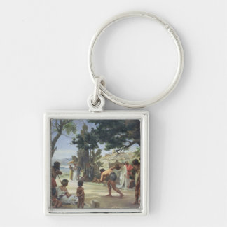 Throwing the Discus, 1875 Silver-Colored Square Keychain