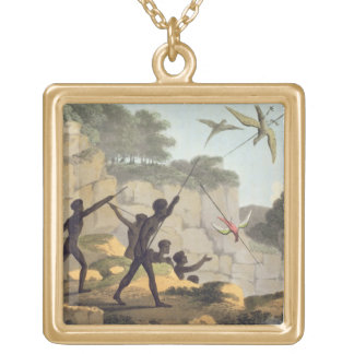 Throwing the Spear, aborigines hunting birds from Pendants