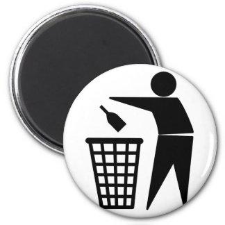 Throwing Trash Away (Bottle) 2 Inch Round Magnet